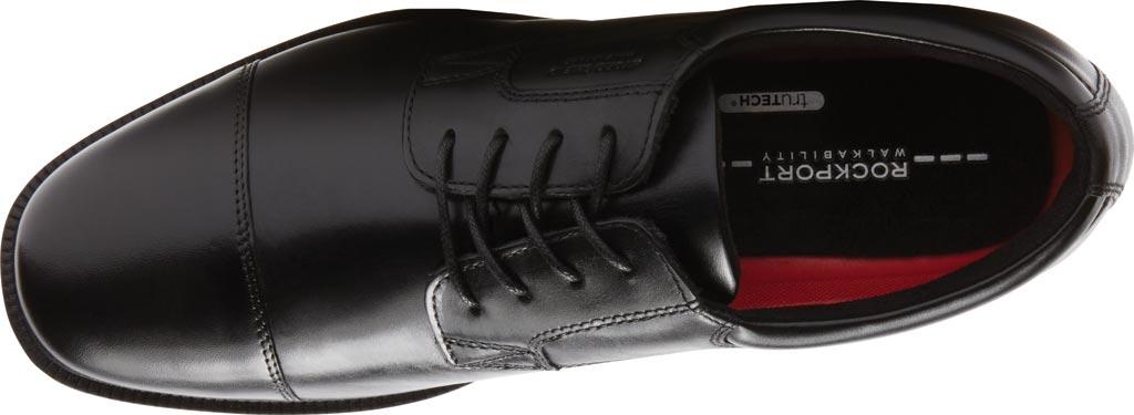 Men's Rockport Essential Details Waterproof Cap Toe, Black Leather, large, image 4
