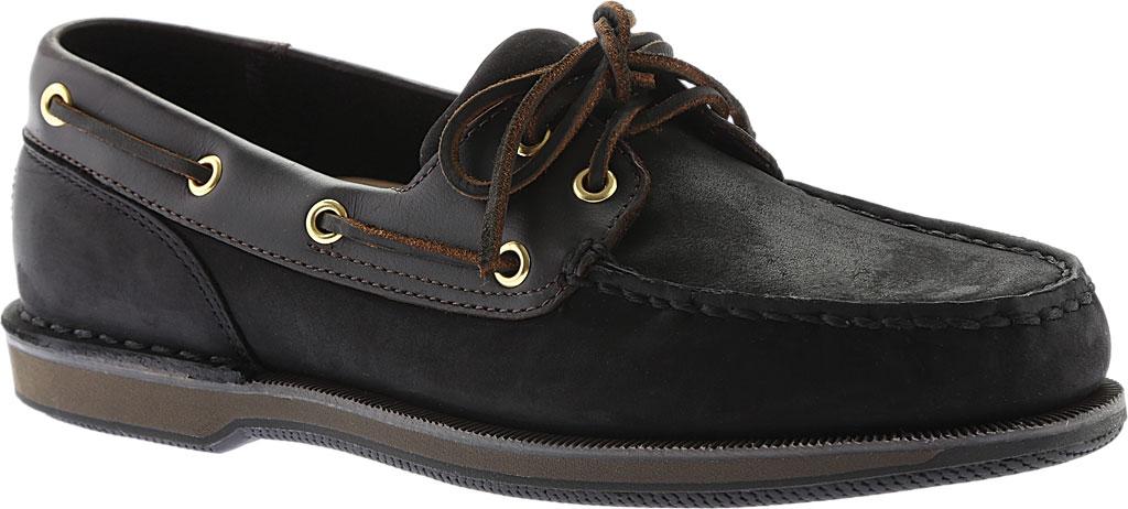 Men's Rockport Perth Boat Shoe, Black/Bark Leather, large, image 1
