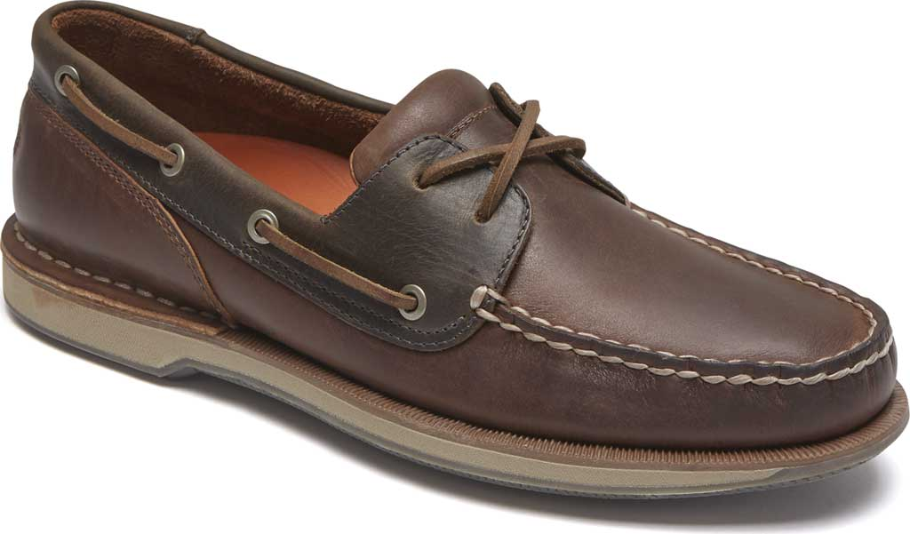 Men's Rockport Perth Boat Shoe, Beeswax/Dark Brown Leather, large, image 1
