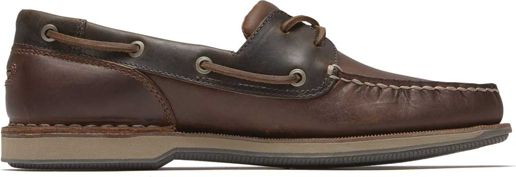 Men's Rockport Perth Boat Shoe, Beeswax/Dark Brown Leather, large, image 2