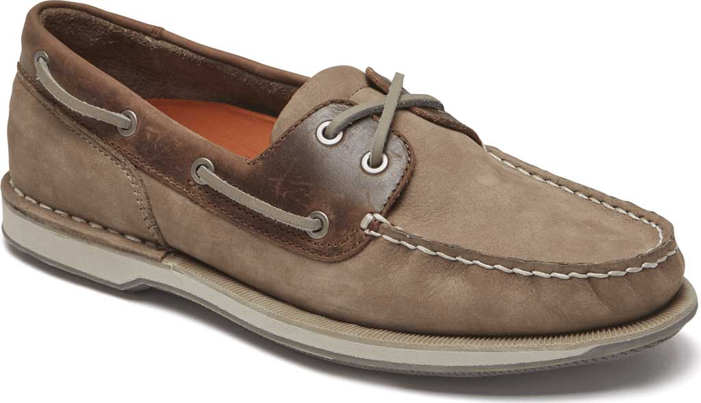 Men's Rockport Perth Boat Shoe, Taupe Nubuck/Beeswax Leather, large, image 1