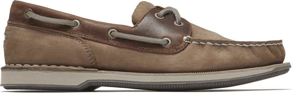 Men's Rockport Perth Boat Shoe, Taupe Nubuck/Beeswax Leather, large, image 2