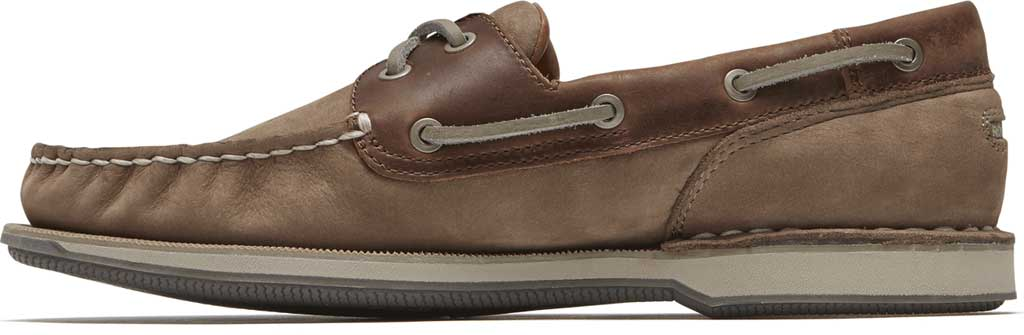 Men's Rockport Perth Boat Shoe, Taupe Nubuck/Beeswax Leather, large, image 3