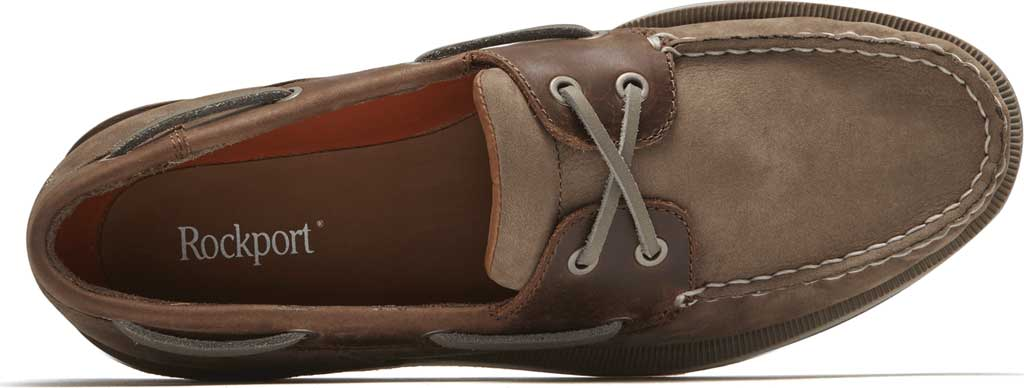 Men's Rockport Perth Boat Shoe, Taupe Nubuck/Beeswax Leather, large, image 4