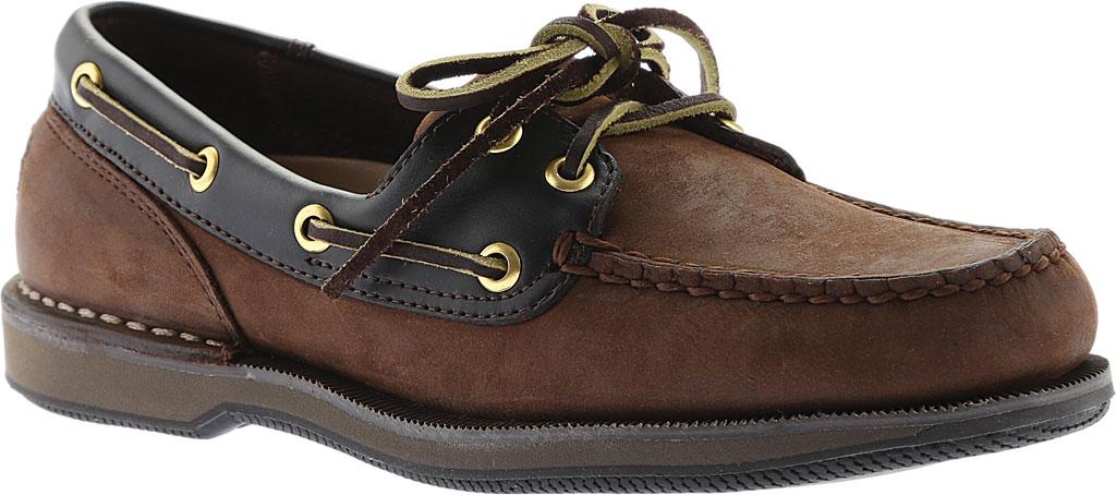 Men's Rockport Perth Boat Shoe, Chocolate/Bark Nubuck, large, image 1