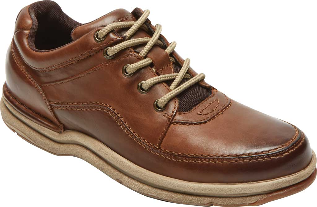 Men's Rockport World Tour Classic Walking Shoe, Brown Leather, large, image 1