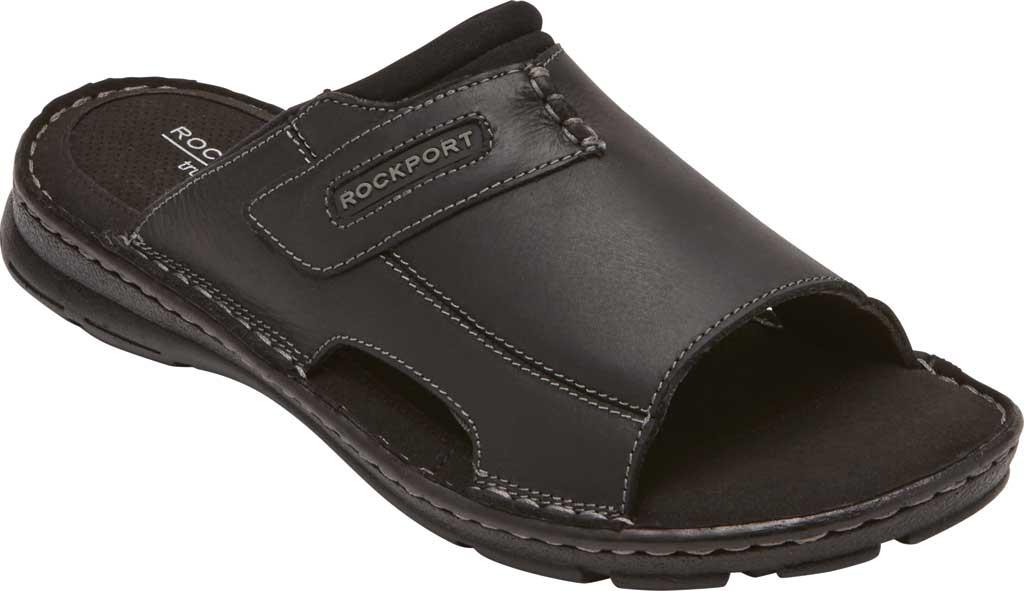 Men's Rockport Darwyn 2 Slide, Black II Leather, large, image 1