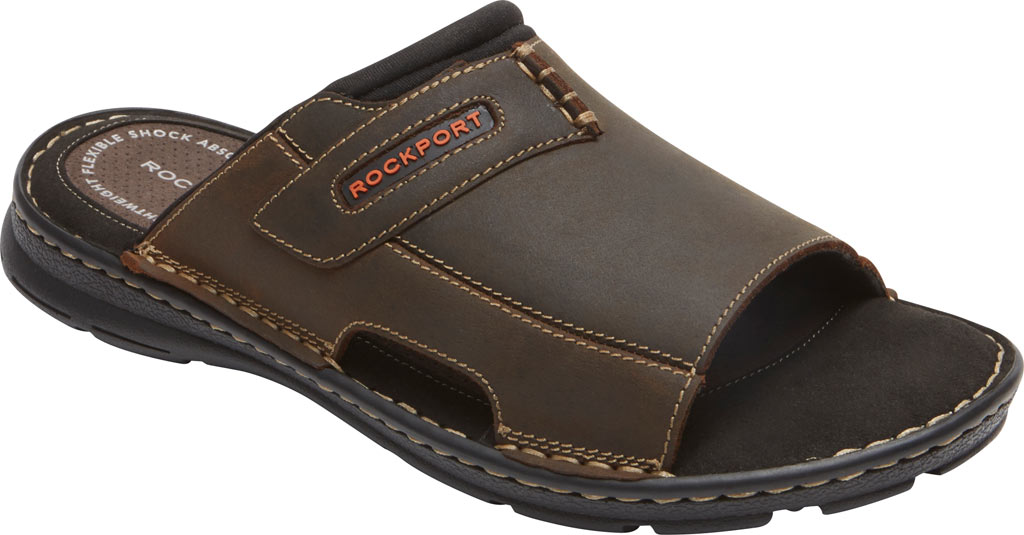 Men's Rockport Darwyn 2 Slide, Brown II Leather, large, image 1
