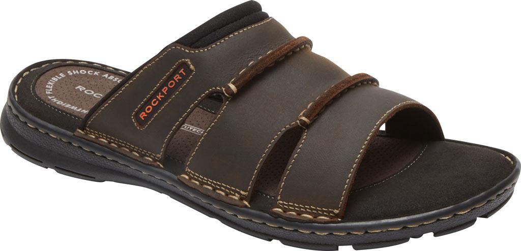 Men's Rockport Darwyn Slide, Brown II Leather, large, image 1
