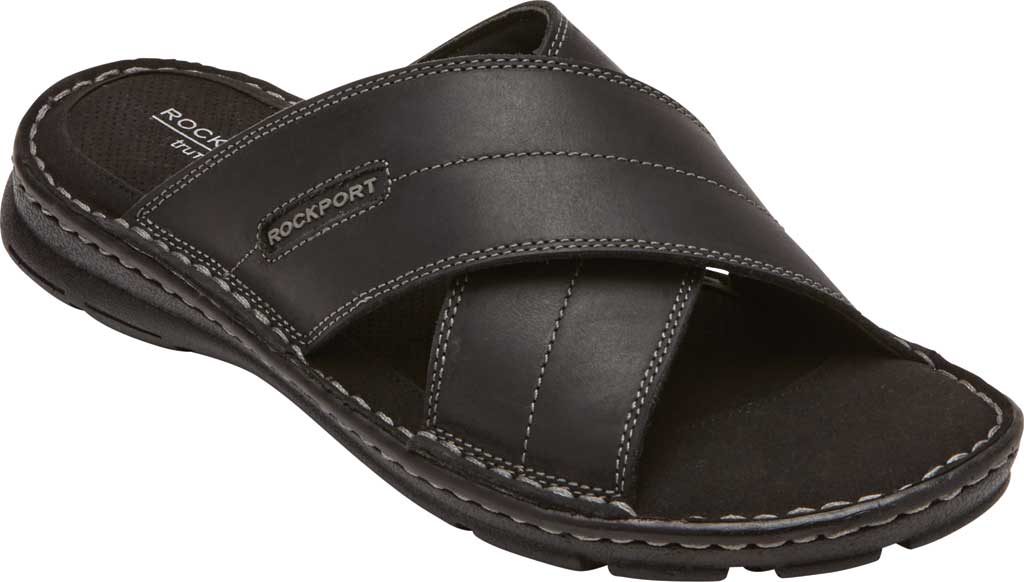Men's Rockport Darwyn Xband Slide, Black II Leather, large, image 1