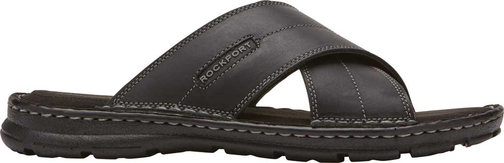 Men's Rockport Darwyn Xband Slide, Black II Leather, large, image 2
