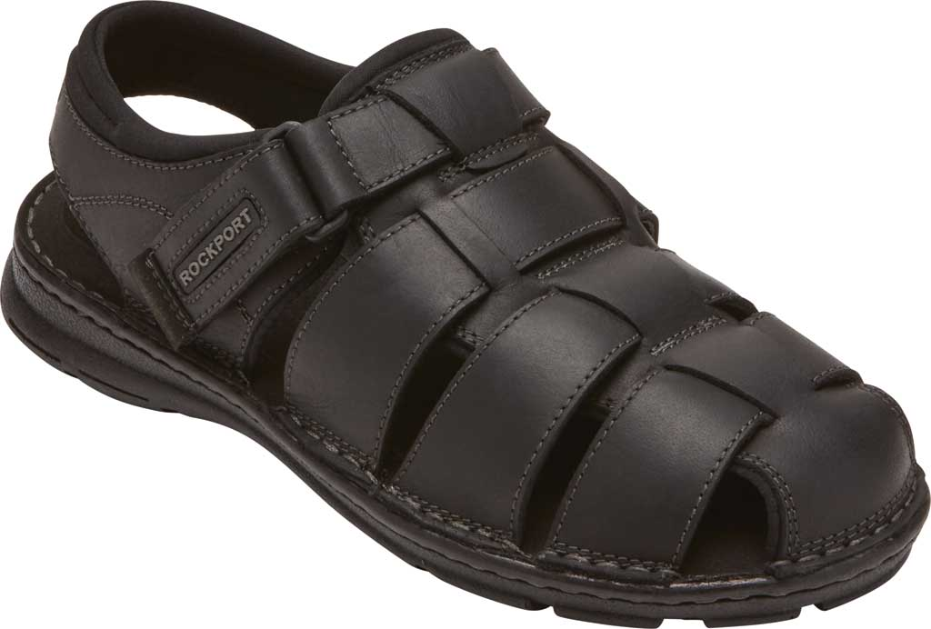 Men's Rockport Darwyn Fishermen Sandal, Black II Leather, large, image 1