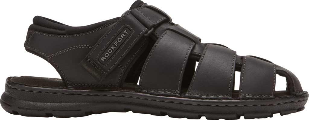 Men's Rockport Darwyn Fishermen Sandal, Black II Leather, large, image 2