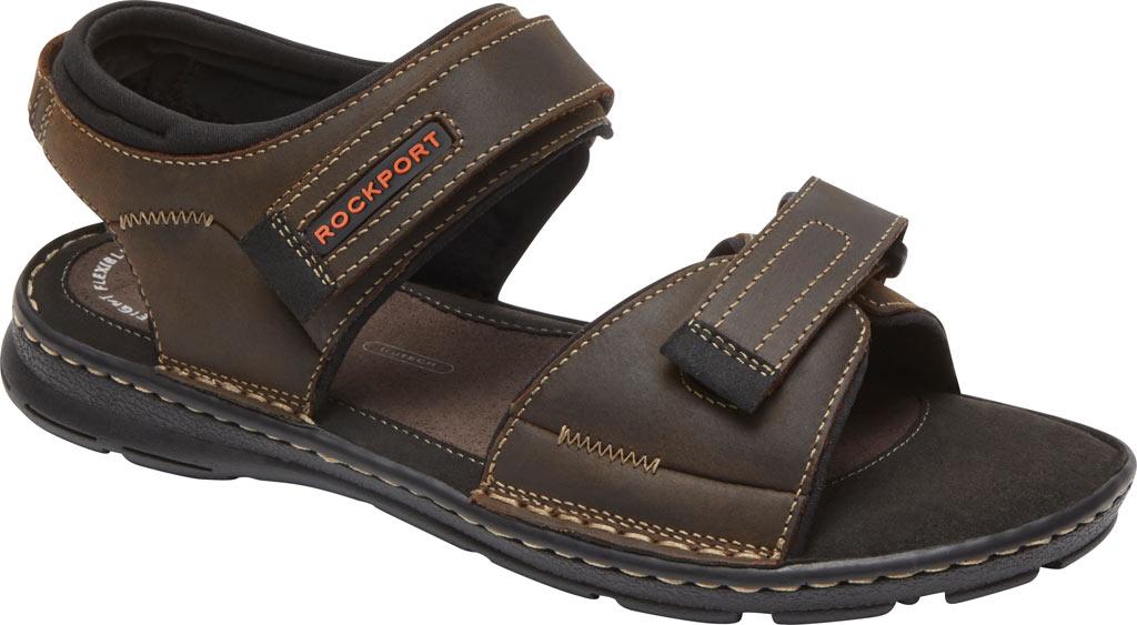 Men's Rockport Darwyn Quarter Strap Sandal, Brown II Leather, large, image 1