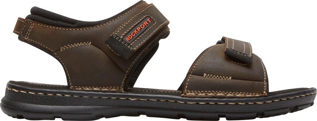 Men's Rockport Darwyn Quarter Strap Sandal, Brown II Leather, large, image 2