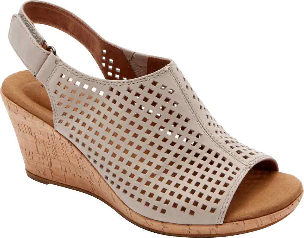 Women's Rockport Briah Perfed Slingback, Taupe Full Grain Leather, large, image 1