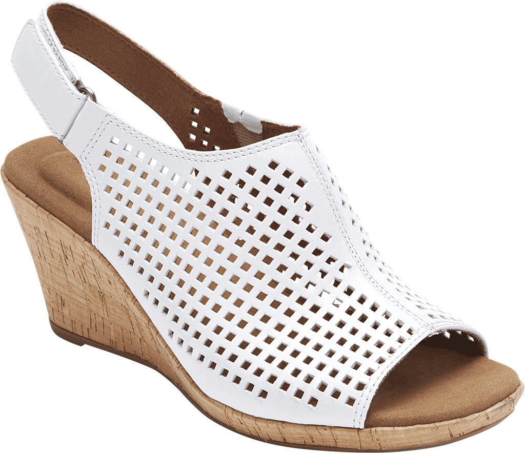 Women's Rockport Briah Perfed Slingback, White Full Grain Leather, large, image 1