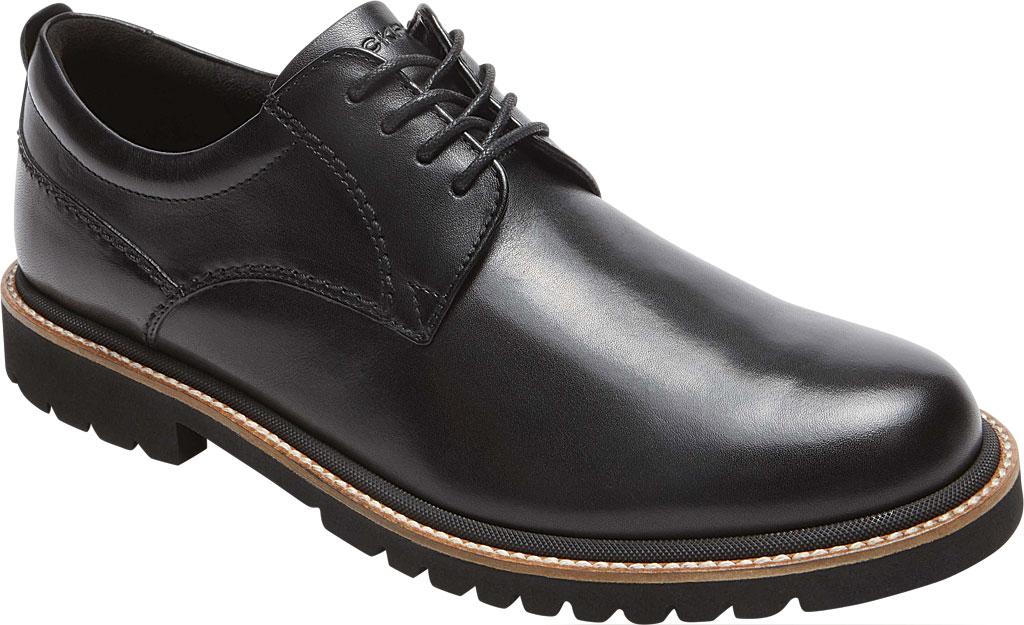 Men's Rockport Marshall Plain Toe Oxford, Black Leather, large, image 1