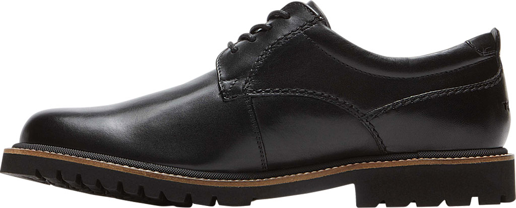 Men's Rockport Marshall Plain Toe Oxford, Black Leather, large, image 3