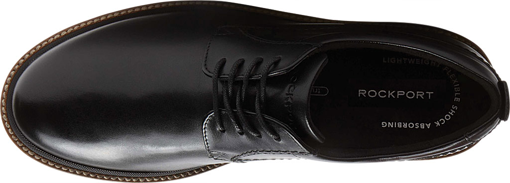 Men's Rockport Marshall Plain Toe Oxford, Black Leather, large, image 4
