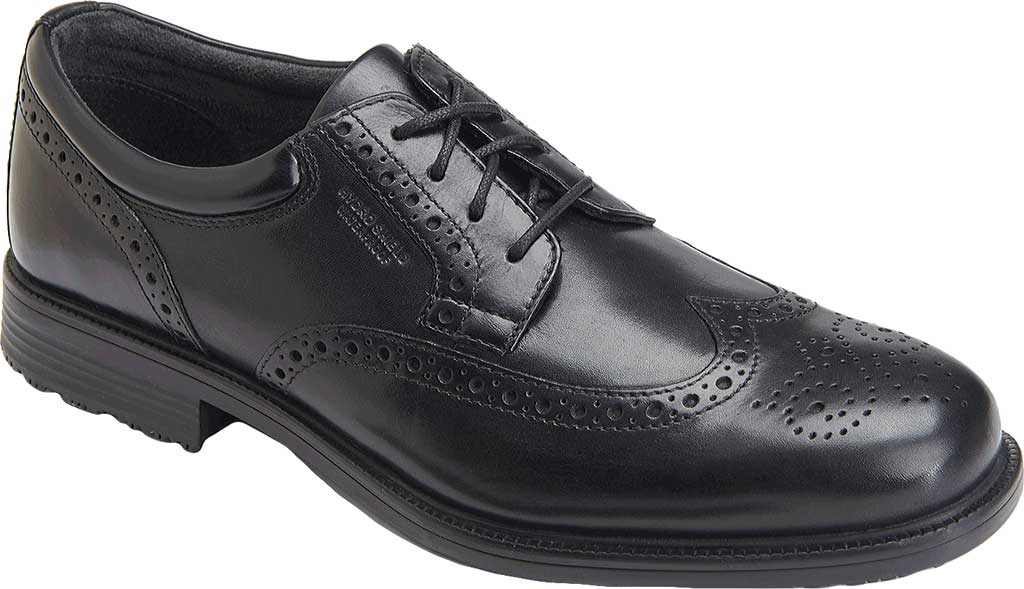 Men's Rockport Lead The Pack Wing Tip, Black Waterproof Leather, large, image 1
