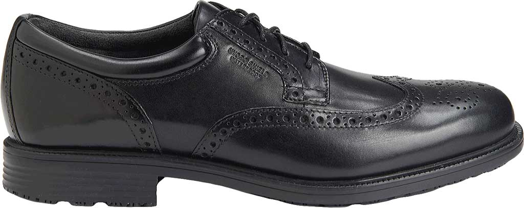 Men's Rockport Lead The Pack Wing Tip, Black Waterproof Leather, large, image 2