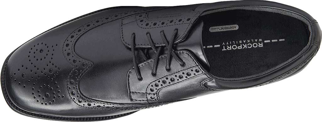 Men's Rockport Lead The Pack Wing Tip, Black Waterproof Leather, large, image 4