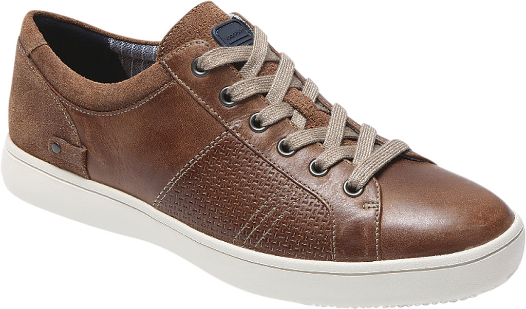 Men's Rockport Colle Tie Sneaker, Tan Leather, large, image 1