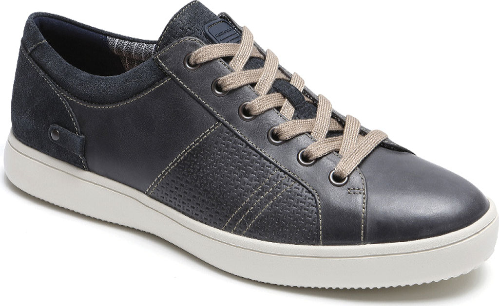 Men's Rockport Colle Tie Sneaker, Blue/Grey Leather, large, image 1
