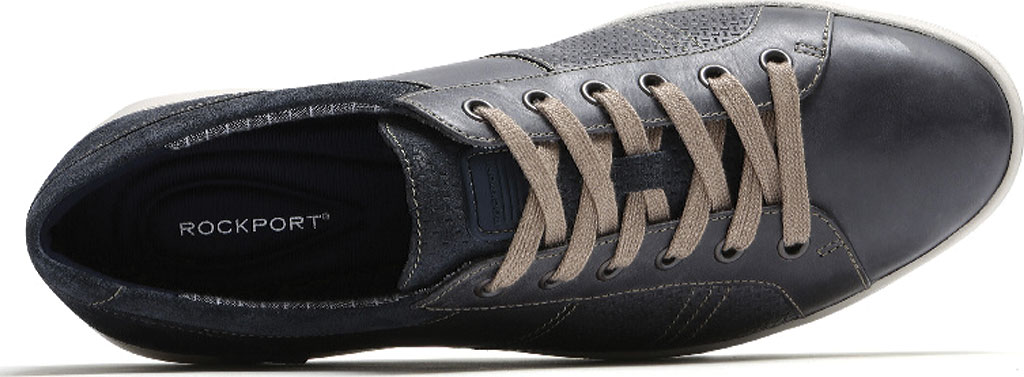 Men's Rockport Colle Tie Sneaker, Blue/Grey Leather, large, image 4