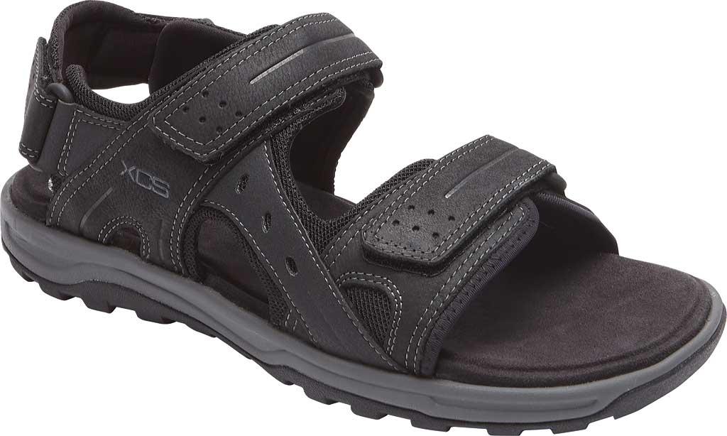 Men's Rockport Trail Technique Adjustable Sandal, Black Leather, large, image 1