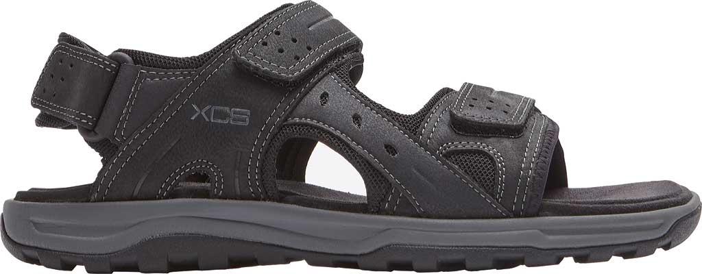 Men's Rockport Trail Technique Adjustable Sandal, Black Leather, large, image 2