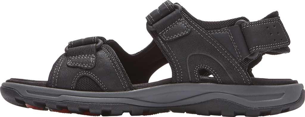 Men's Rockport Trail Technique Adjustable Sandal, Black Leather, large, image 3
