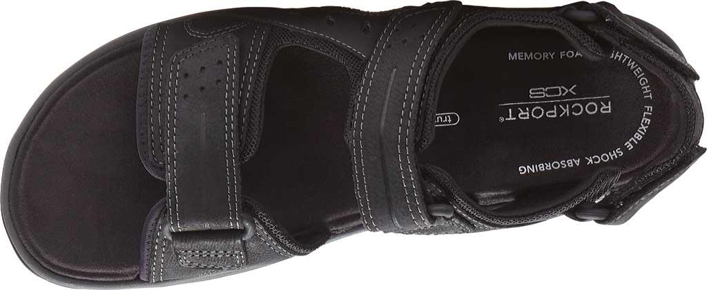 Men's Rockport Trail Technique Adjustable Sandal, Black Leather, large, image 4