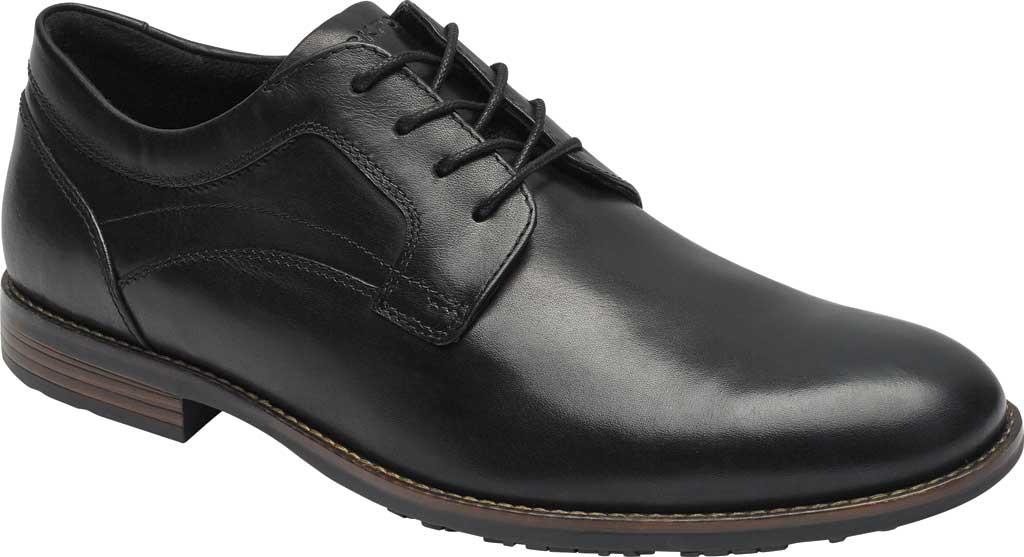 Men's Rockport Dustyn Plain Toe Oxford, Black Leather, large, image 1