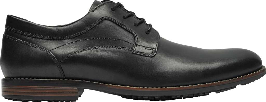 Men's Rockport Dustyn Plain Toe Oxford, Black Leather, large, image 2