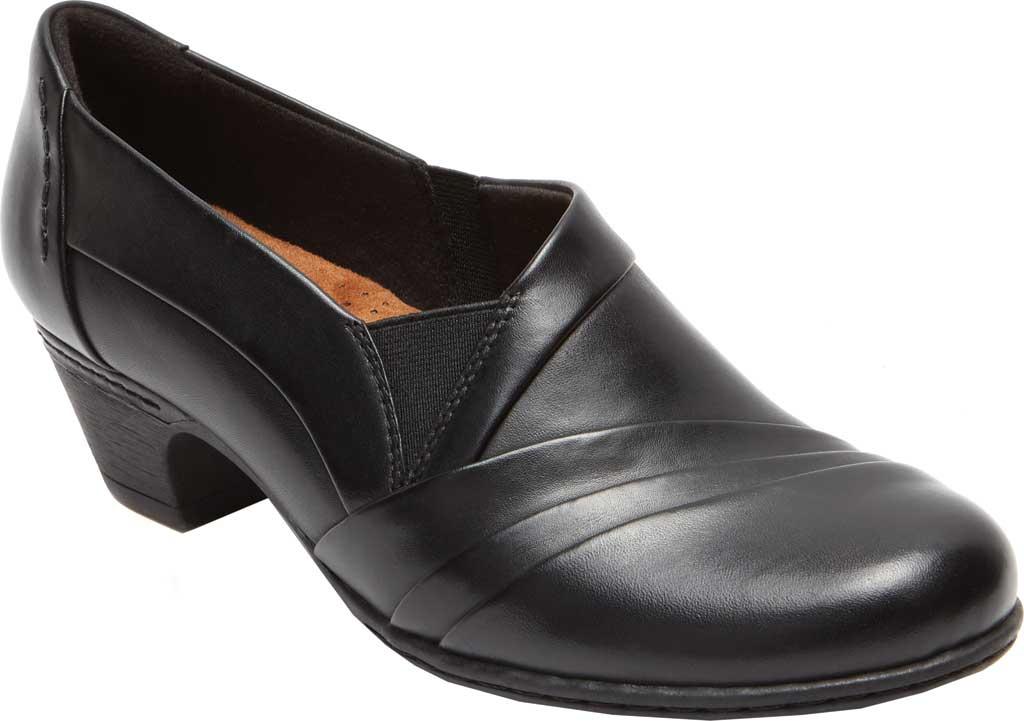 Women's Rockport Cobb Hill Abbott Slip On, Black Leather, large, image 1