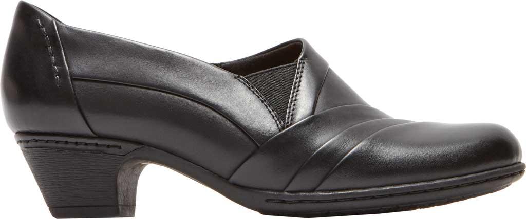 Women's Rockport Cobb Hill Abbott Slip On, Black Leather, large, image 2