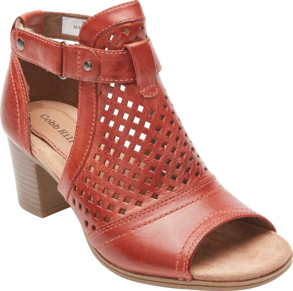 Women's Rockport Cobb Hill Hattie Hi Cuff Bootie, Russet Red Burnished Leather, large, image 1