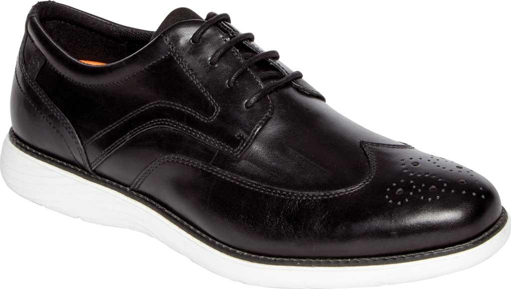 Men's Rockport Garett Wing Tip, Black/White Leather, large, image 1