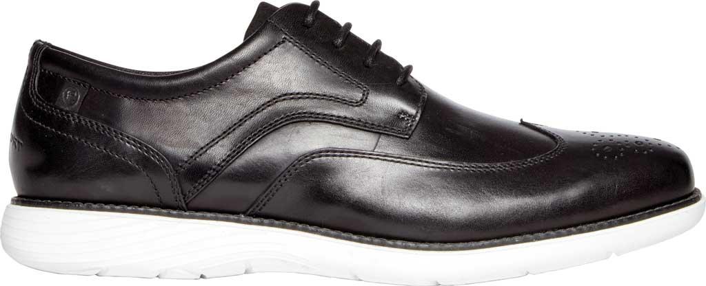 Men's Rockport Garett Wing Tip, Black/White Leather, large, image 2