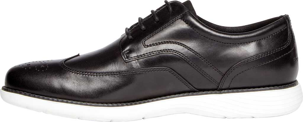 Men's Rockport Garett Wing Tip, Black/White Leather, large, image 3