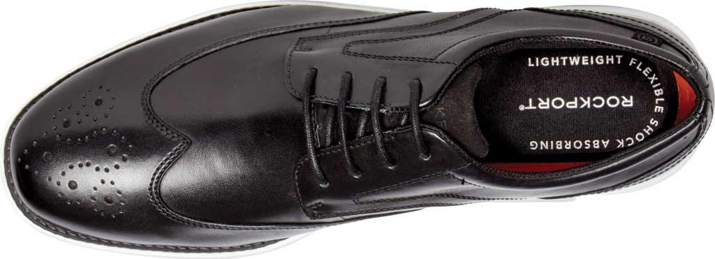 Men's Rockport Garett Wing Tip, Black/White Leather, large, image 4