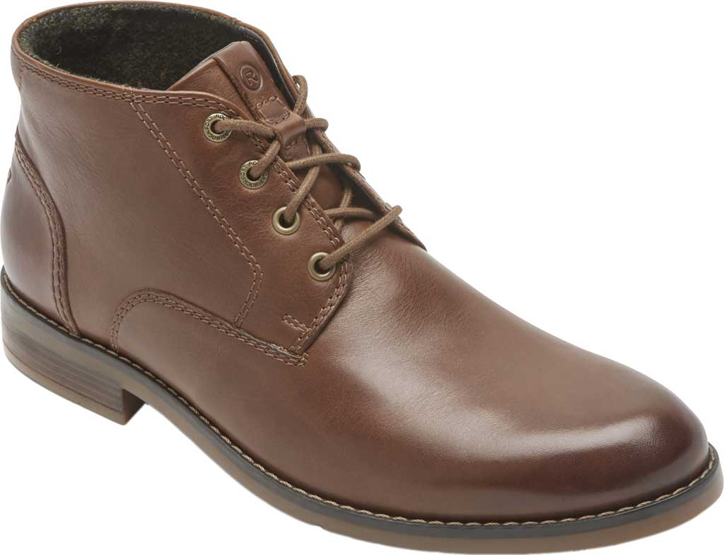 Men's Rockport Colden Chukka Boot, Dark Tan Antiqued Leather, large, image 1