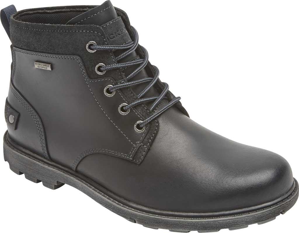 Men's Rockport Rugged Bucks II Chukka Boot, Black Waterproof Leather/Suede, large, image 1