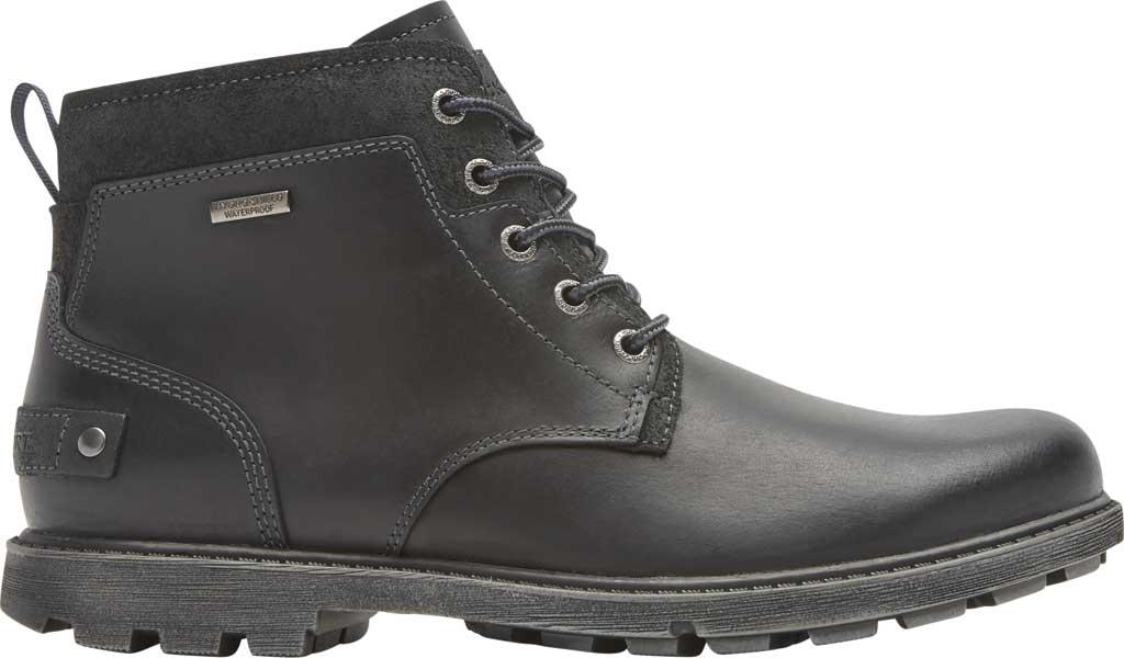 Men's Rockport Rugged Bucks II Chukka Boot, Black Waterproof Leather/Suede, large, image 2