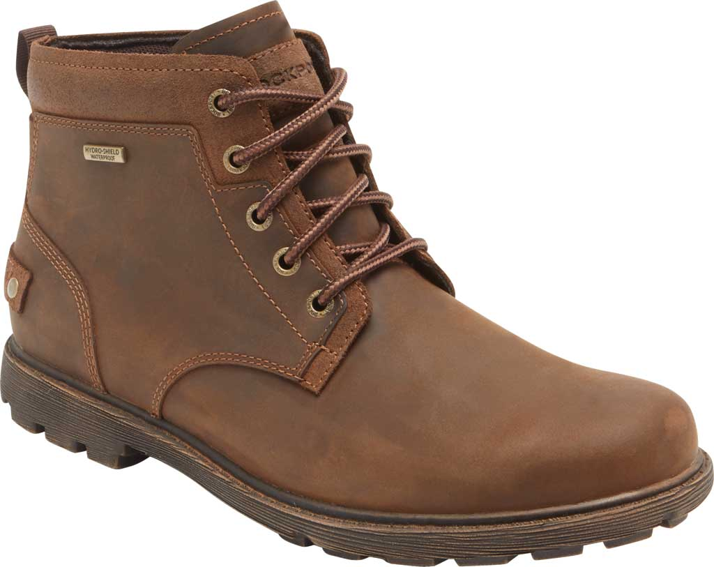 Men's Rockport Rugged Bucks II Chukka Boot, Boston Tan Waterproof Leather/Suede, large, image 1