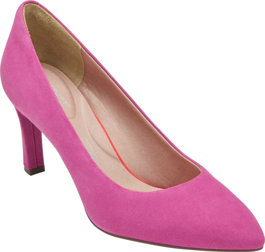 Women's Rockport Total Motion Sheehan Pointed Toe Pump, Magenta Suede, large, image 1
