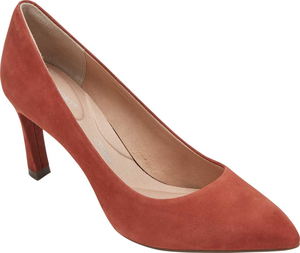 Women's Rockport Total Motion Sheehan Pointed Toe Pump, Cider Kid Suede, large, image 1
