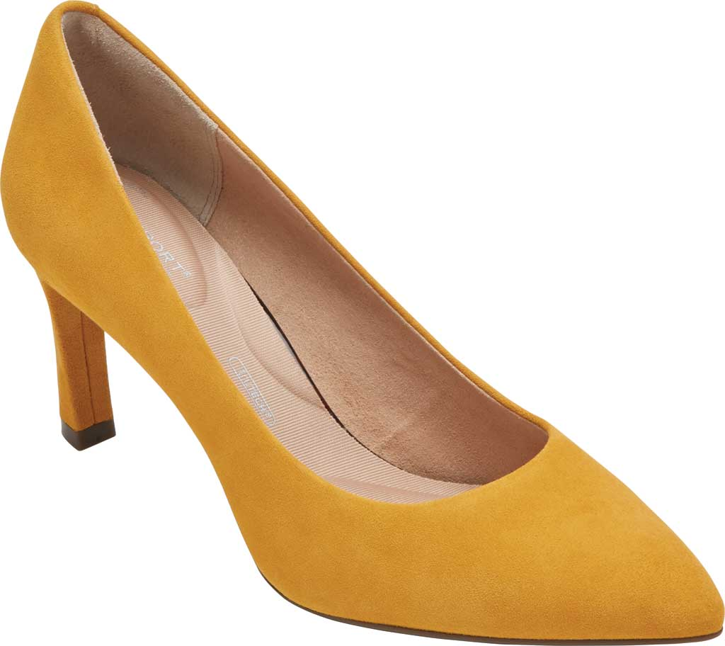 Women's Rockport Total Motion Sheehan Pointed Toe Pump, Marigold Kid Suede, large, image 1